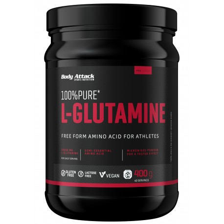 Body Attack, 100% Pure L-Glutamine, 400g